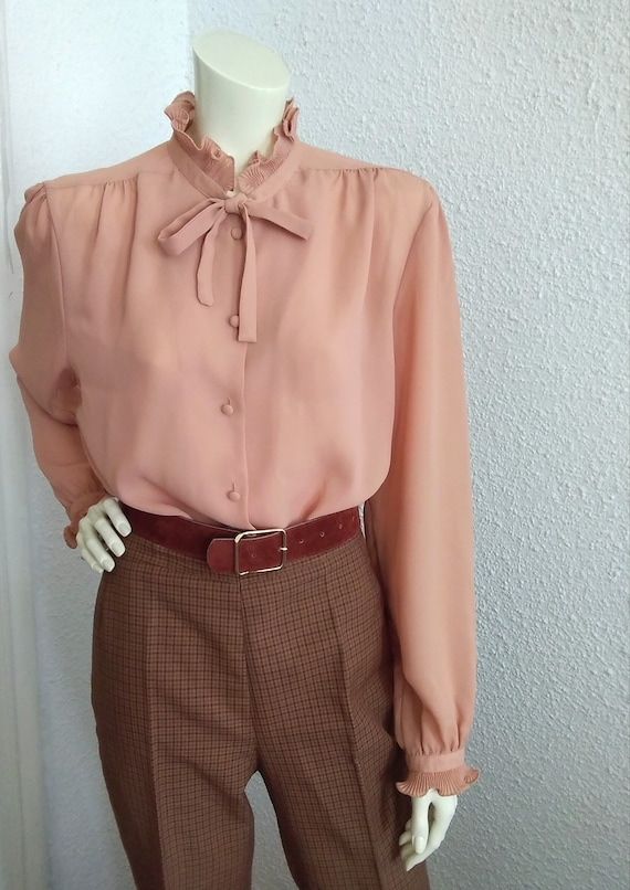 70s-80s pussy bow top pleated ruffled blouse vict… - image 7