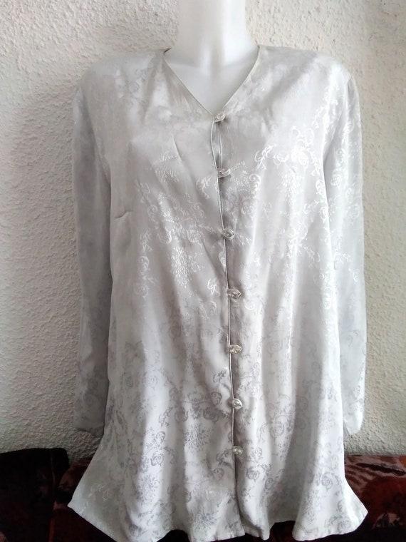 minimalist floral jacquard  shirt 80s grey color … - image 8