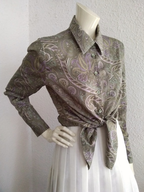 90s does 40s-50s paisley blouse cotton grey sprin… - image 8