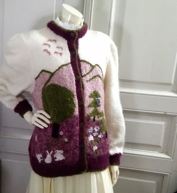 novelty sweater mohair handmade sweater scenic pop