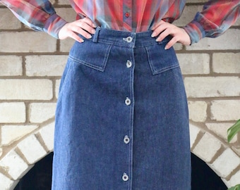 fa2fcdb16da Vintage 1970 s 1980 s High Waisted Long Denim Prairie Skirt Size XS