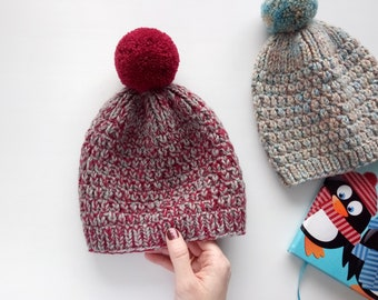 cbae967d2bf Hat Kid s red gray Beanie Knit Baby Beanie Baby Hat Kids knit hat for kids  Knit Pompom Hat Chunky Knit Wool Winter Spring