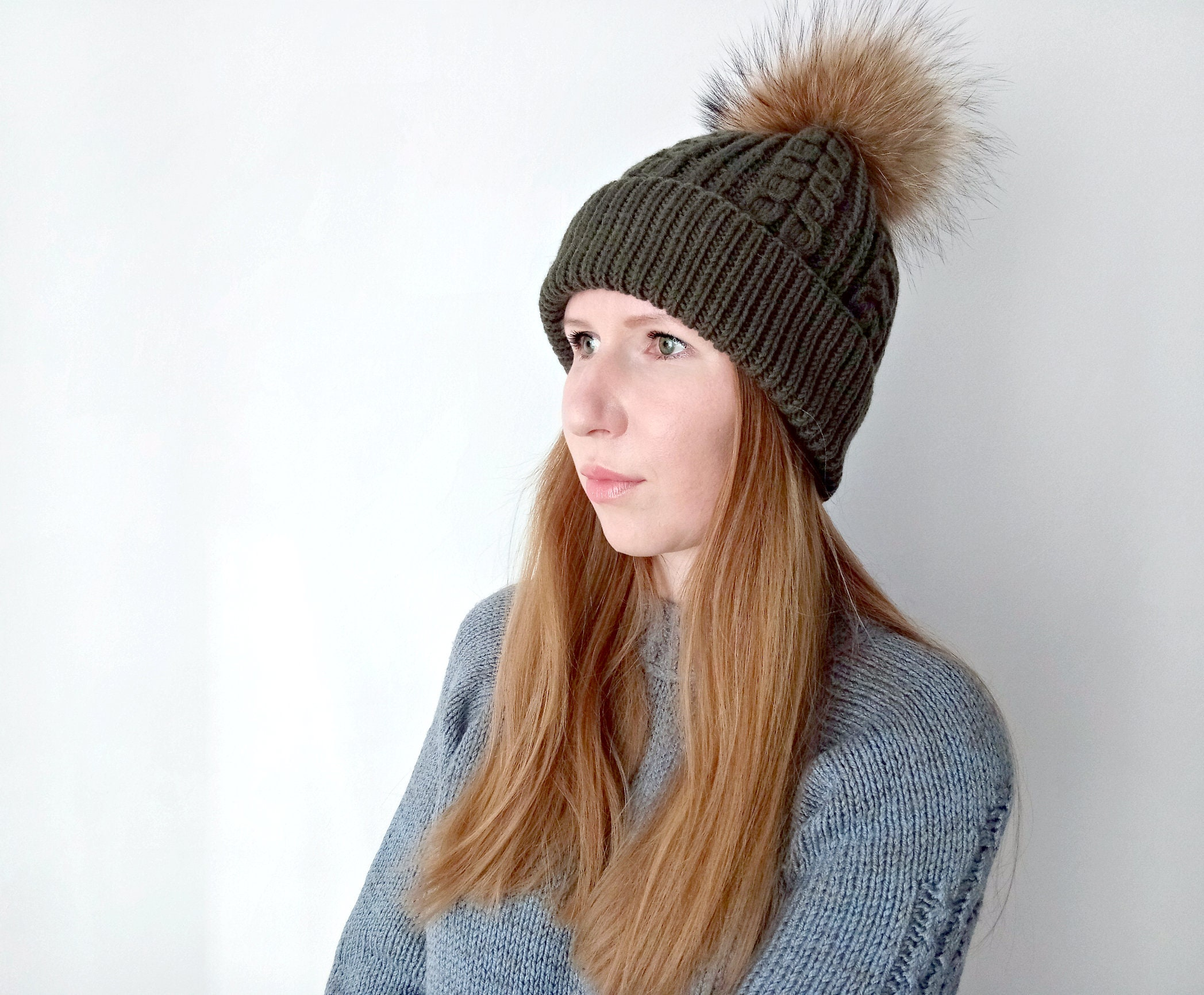 Women pom pom hat khaki hat Winter cable knit hat Pom pom fur  f27e22b7d52