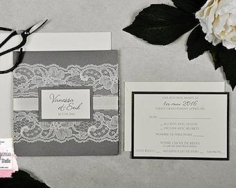Luxury Lace Invitation, Classic, Wedding Invitation, Pocket Wedding Invitation, Charcoal Invitation, Romantic Wedding Invitation