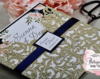 Laser cut wedding invitation, Wedding invitation, Glitter Invite, Gold and Navy Blue Invites