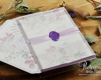 Vellum Wrap Wedding Invitation Set with Wax Seal, Floral Wedding Invitation, Lilac and Purple