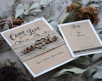 Rustic Wedding Invitations, Personalized Wooden Wedding Invitations, Kraft Rustic Wedding Invite, Laser Cut Wedding Invitation