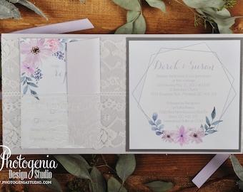 Luxury Lace Invitation, Classic, Wedding Invitation, Pocket Wedding Invitation, Foil Invitation, Romantic Wedding Invitation