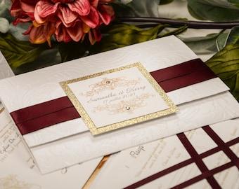 Pocket Wedding Invitations, Luxury Embossed Invitations, Classic, Wedding Invitation, Embossed Wedding Invitations Active