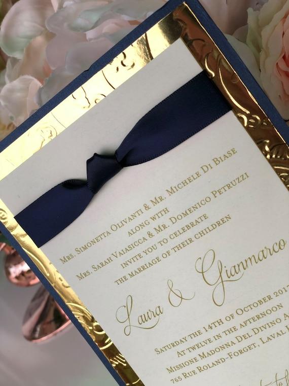 Deposit Rina Blue Gold Wedding Invitations