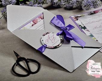 Petal-Fold Wedding Invitation, Floral Wedding Invite, Silver & Purple Wedding set, Faire Part Mariage