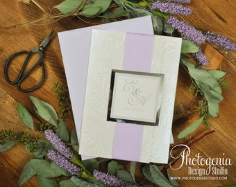 Embossed pocket wedding invitation, Lilac and ivory wedding invitation, Wedding Invite, Faire Part Mariage,