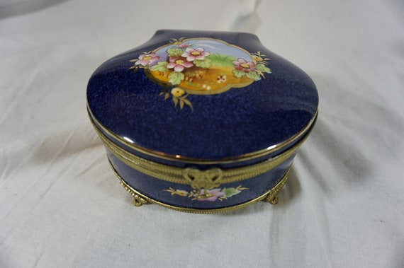 Vintage Porcelain and Ormolu Jewelry Box Casket