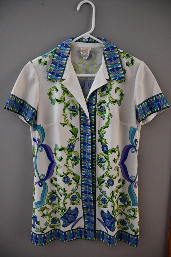 Mr Dino garden print button down tunic size 10 (me
