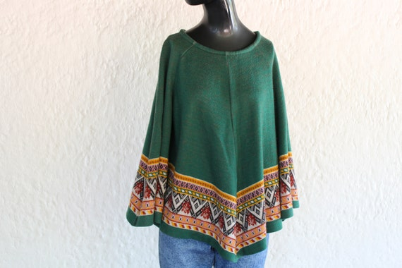 Forest Green Poncho Blouse/ Medium/ 70's Fashion/