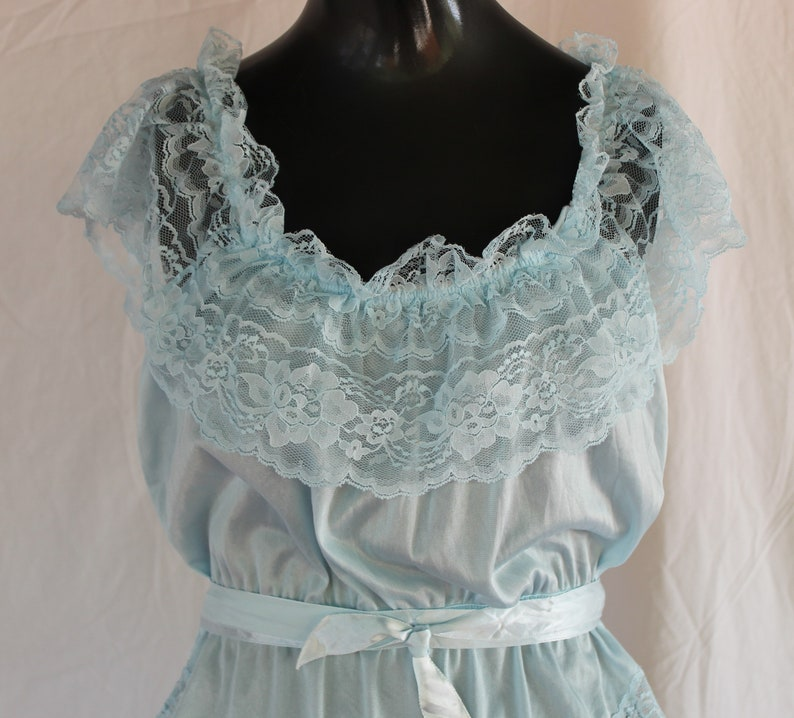 Light Blue Teddy with Lace Trim and Ribbon Belt  80/'s /& 90/'s Fashion VIntage