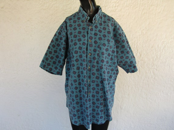Teal Button Down with Geometric Pattern/ Large/ 90