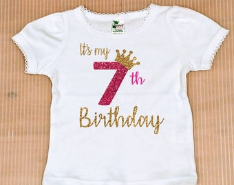 Seventh Birthday Girl Shirt Free Shipping Personalized 7th Party