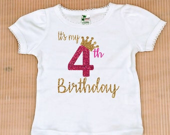 Fourth Birthday Girl Shirt Free Shipping Personalized 4th Party