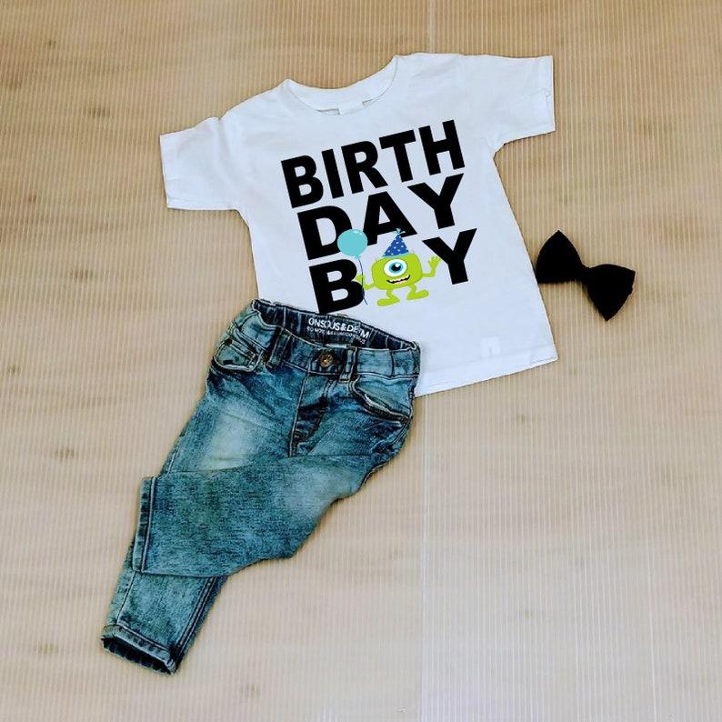 21cf95045a709 Birthday Boy Shirt, FREE SHIPPING, birthday boy, mike wazowski  birthday,monsters birthday, white Birthday Boy,birthday party shirt