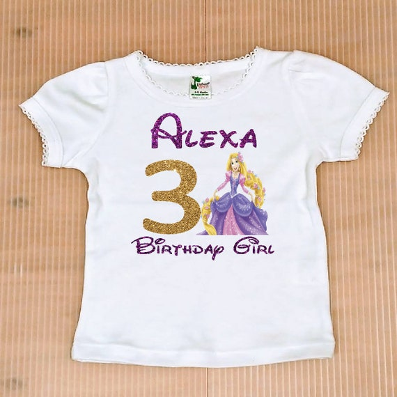 Rapunzel Birthday Girl Shirt FREE SHIPPING