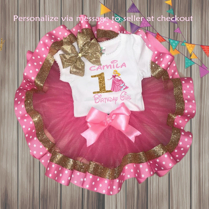 First birthday tutu outfit First Birthday Aurora Onesie First birthday bodysuit FREE SHIPPING,Pink and Gold Personalized