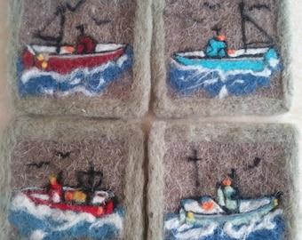 Summer Sailing Boat Sea Roses Beach Nautical Seascape original 8x10 Needle Wool Felt and Fiber framed artwork wall table