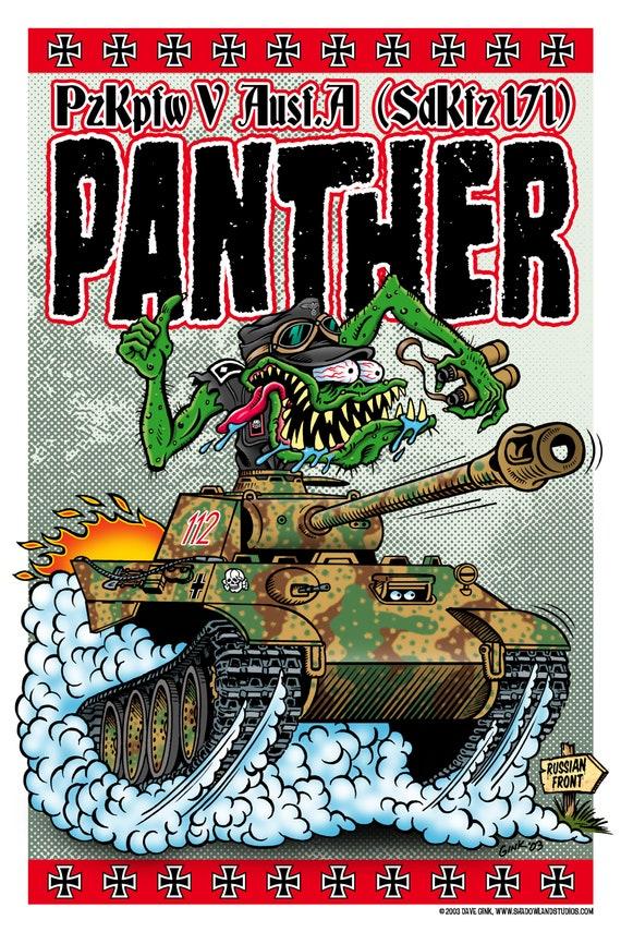 Dave Gink Original Design Rat Fink Hot Rod Style Soviet T-34 Tank Poster