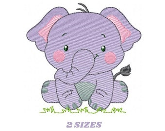 Elephant embroidery designs - animal embroidery design - machine embroidery pattern - baby embroidery file kid embroidery elephant design