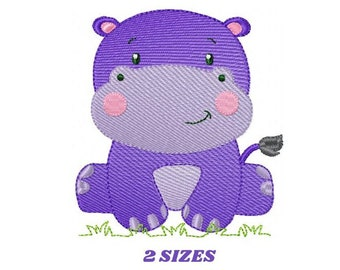 Hippo embroidery designs - Safari embroidery design machine embroidery pattern - Animal embroidery file - baby girl embroidery pes download