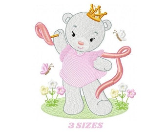 Bear embroidery designs - Princess embroidery design machine embroidery pattern - Baby Girl embroidery file - digital download bear crown