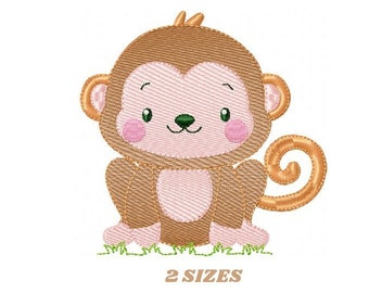Monkey embroidery designs - Safari embroidery design machine embroidery pattern - Animal embroidery file - baby boy embroidery zoo animals