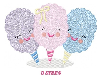 Cotton candy embroidery designs - Candy embroidery design machine embroidery pattern - Cotton candy cart embroidery file - kid embroidery