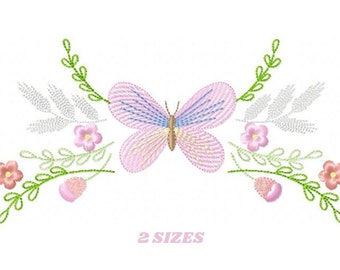 Butterfly embroidery design - Delicate Flowers embroidery designs machine embroidery pattern - baby girl embroidery file - instant download
