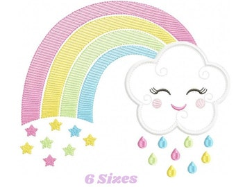 Cloud embroidery design - Rainbow embroidery design machine embroidery patterns - Baby girl embroidery file - rainbow sky stars embroidery