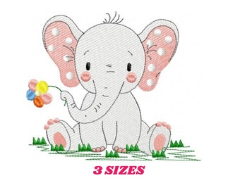 Elephant embroidery designs -  Animal embroidery design machine embroidery pattern - Baby girl embroidery file - instant download Peace Love