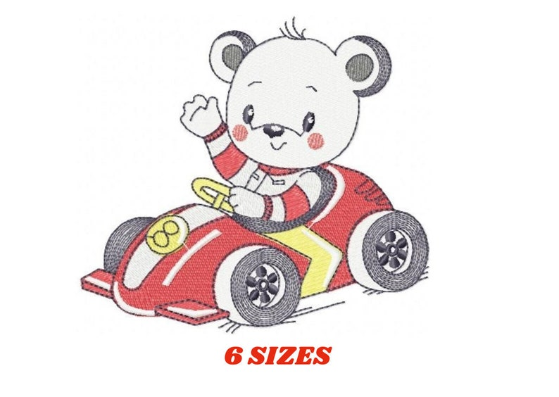 Bear with car embroidery designs  Bear embroidery design image 0