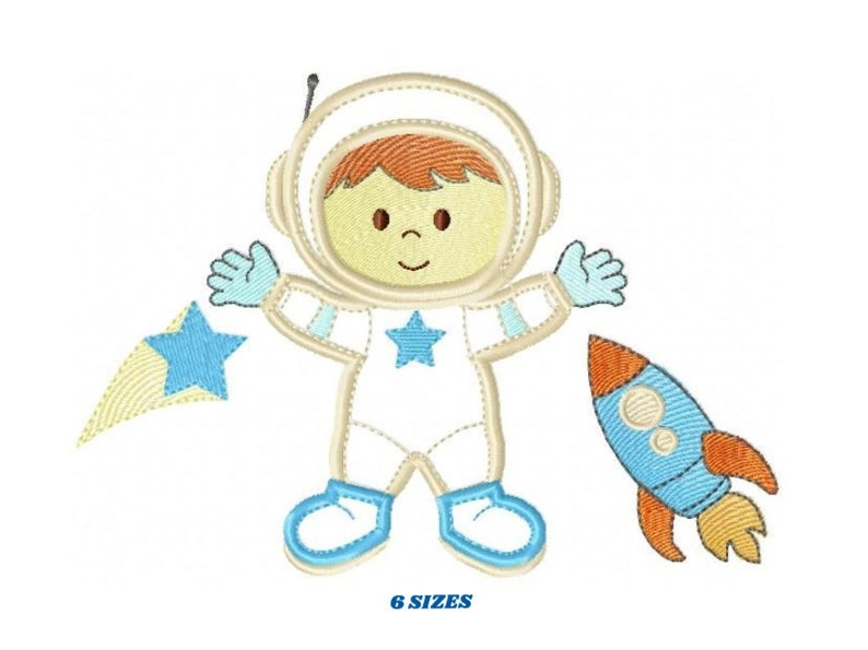 Astronaut embroidery designs  Boy embroidery design machine image 0