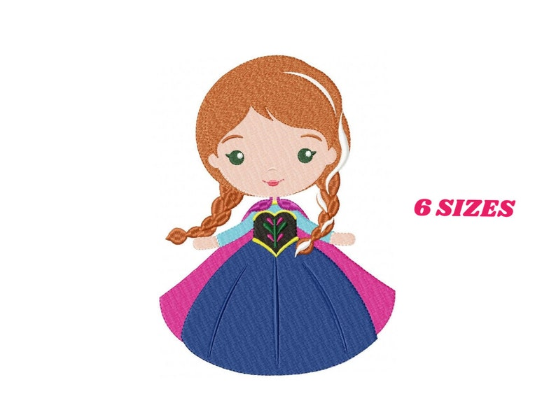 Princess Anna embroidery designs Disney embroidery design machine  embroidery pattern file Frozen embroidery Princess applique design girl
