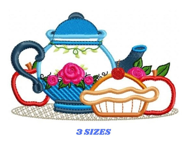 Pie embroidery design  Teapot embroidery designs machine image 0