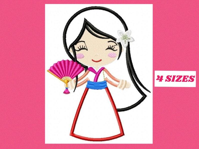Mulan embroidery designs Disney Princess embroidery design machine  embroidery pattern Princess applique design japanese embroidery geisha