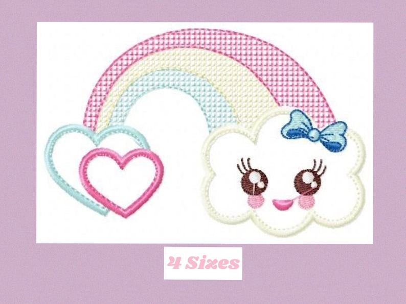 Cloud embroidery design rainbow embroidery designs machine embroidery  pattern baby embroidery file kid embroidery cloud applique design pes