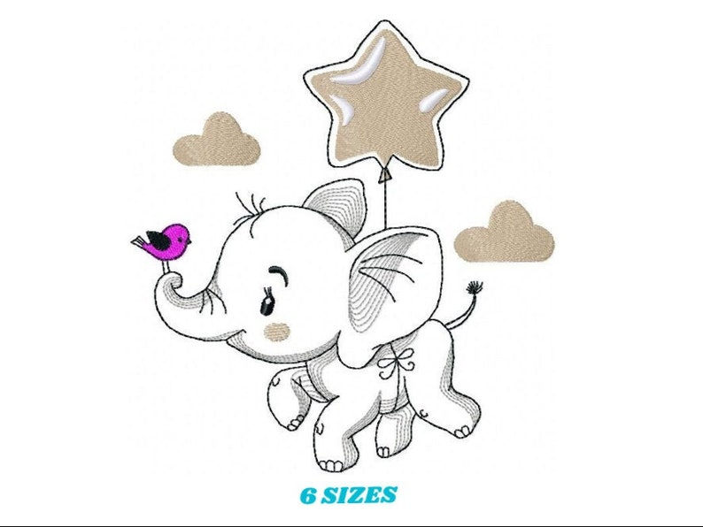 Elephant embroidery designs   Animal embroidery design image 0