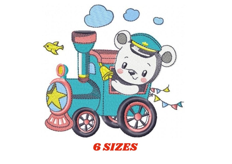Bear with train embroidery designs  Bear embroidery design image 0