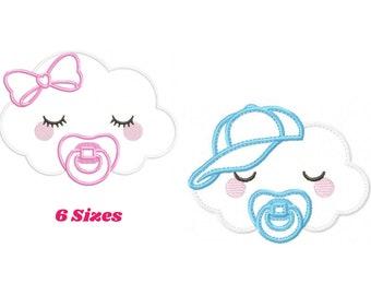 Baby Cloud embroidery design - Baby girl embroidery design machine embroidery pattern - baby boy embroidery file - cloud applique sky design
