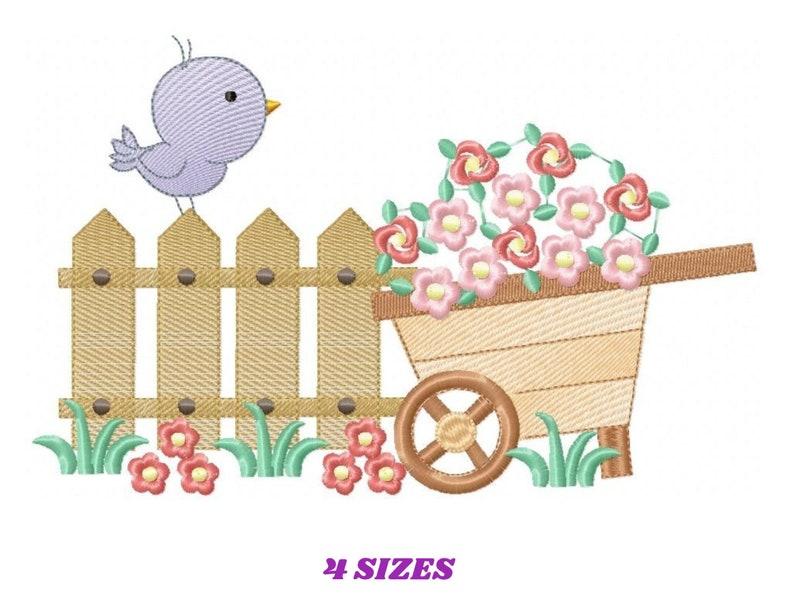 Bird embroidery designs  Garden embroidery design machine image 0