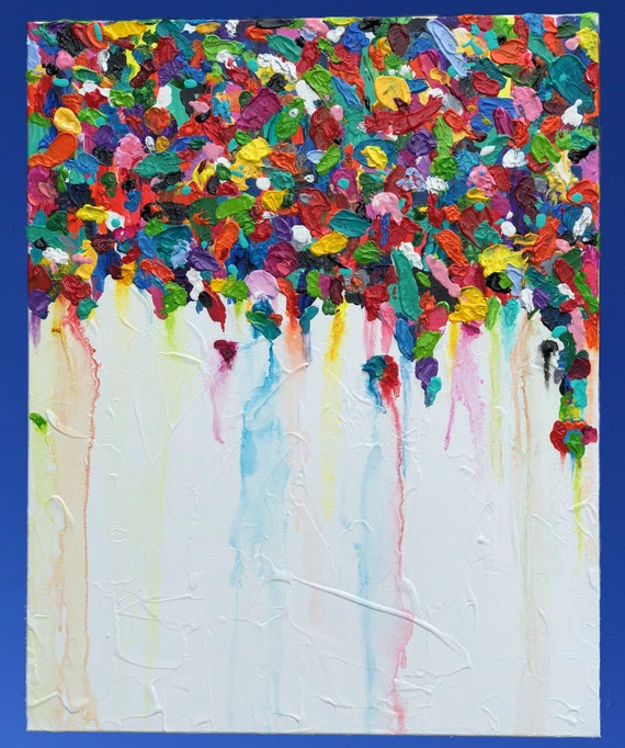Original Abstract Canvas Art Palette Knife Glossy Abstract Art Modern Wall Art Acrylic Painting Impasto Multicolor Canvas