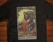 Queen of Pentacles Tarot Card Shirt, Psychic Shirt, Witch Shirt, Tarot Card Shirt, Unisex Graphic Tee