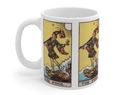 The Fool Tarot Card Mug 11oz, Psychic, Witch, Wizard, Warlock, Pamela A, Rider Waite Deck