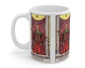 Justice Tarot Card Mug 11oz, Psychic, Witch, Rider Waite Deck